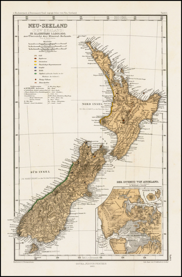 New Zealand Map By Adolf Stieler