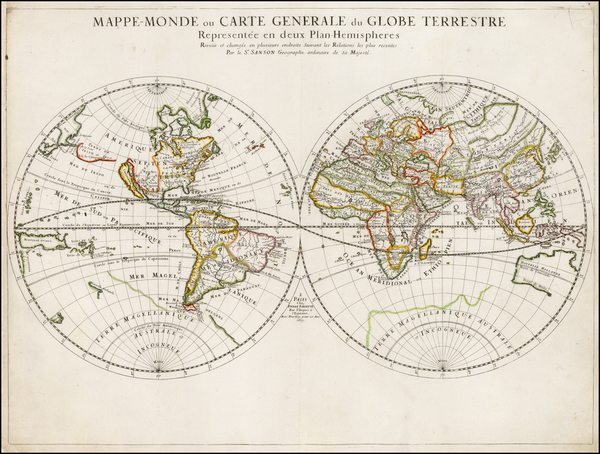 38-World and World Map By Pierre Mariette - Nicolas Sanson