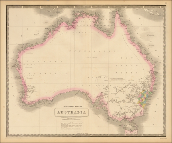 92-Australia Map By W. & A.K. Johnston