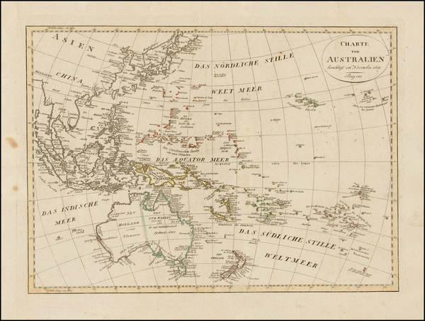 Australia & Oceania, Australia and Oceania Map By Iohann Matthias Christoph Reinecke