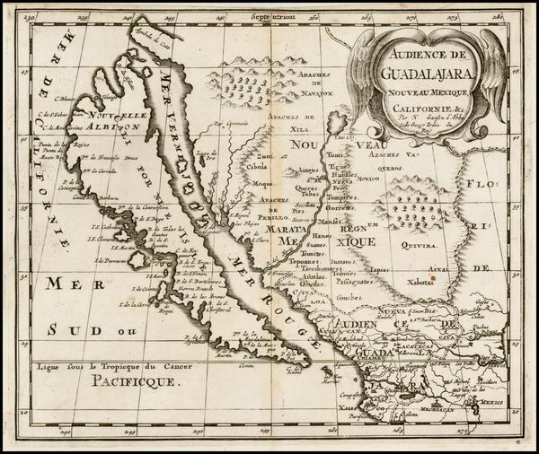 89-Southwest, Mexico, Baja California and California Map By Nicolas Sanson