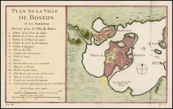62-Massachusetts and Boston Map By Jacques Nicolas Bellin