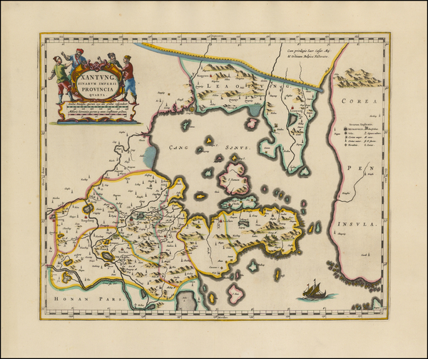 63-China and Korea Map By Johannes Blaeu