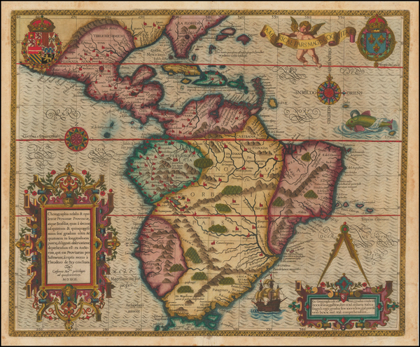55-Mexico, Caribbean, Central America, South America and America Map By Theodor De Bry