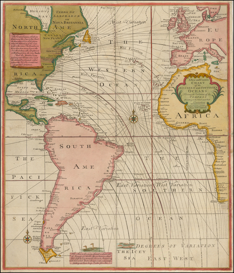 43-Atlantic Ocean, South America, Africa, Africa and America Map By Mount & Page