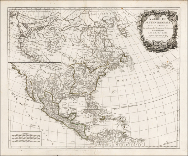 46-United States, Alaska and North America Map By Gilles Robert de Vaugondy
