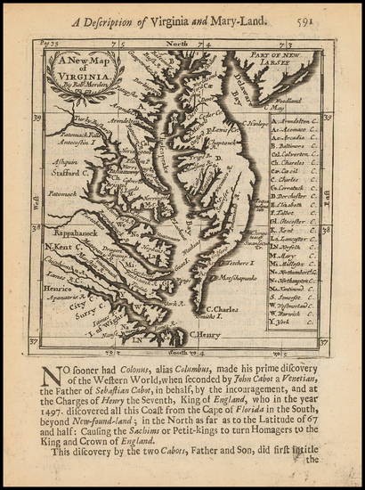 30-Delaware, Southeast and Virginia Map By Robert Morden