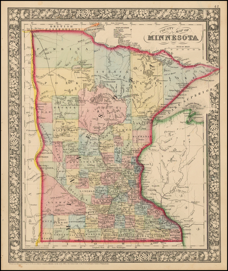 43-Midwest and Minnesota Map By Samuel Augustus Mitchell Jr.