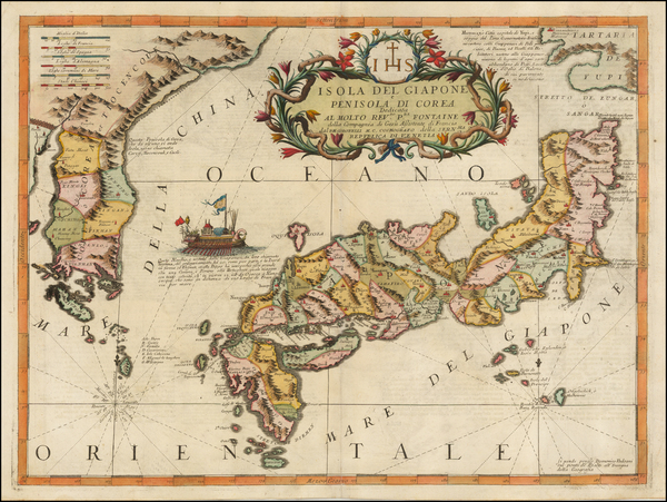 Japan and Korea Map By Vincenzo Maria Coronelli