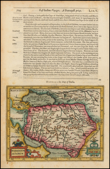 21-Central Asia & Caucasus, Middle East and Persia Map By Jodocus Hondius / Samuel Purchas