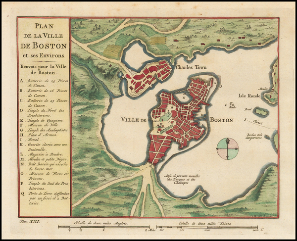 53-New England, Massachusetts and Boston Map By Jacques Nicolas Bellin