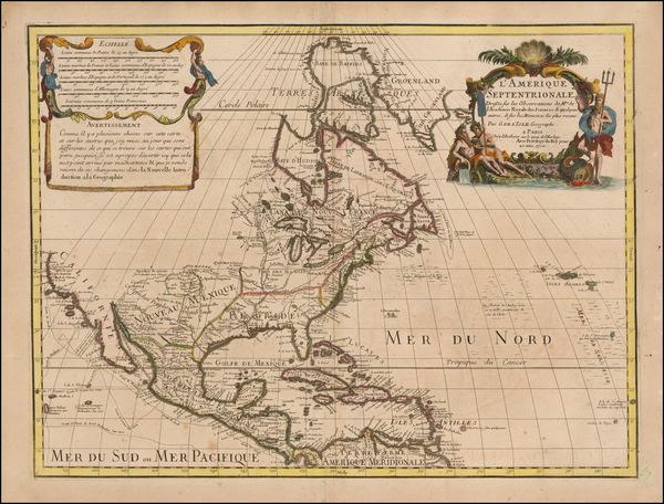 17-North America and California Map By Guillaume De L'Isle