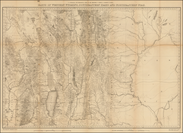 45-Southwest, Rocky Mountains, Utah and Wyoming Map By F.V. Hayden