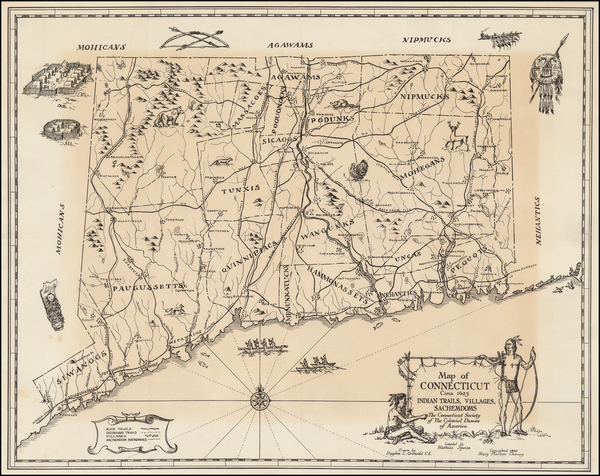 21-New England, Connecticut and Pictorial Maps Map By Hayden L. Griswold / Mathias Spiess