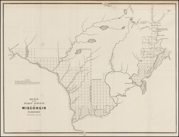 96-Midwest and Wisconsin Map By General Land Office