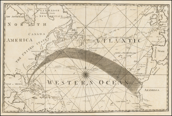 62-Atlantic Ocean, United States, North America and Caribbean Map By American Philosophical Societ