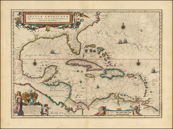 74-Florida, South, Southeast, Caribbean and Central America Map By Willem Janszoon Blaeu