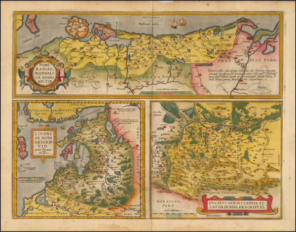 93-Germany, Poland, Romania and Baltic Countries Map By Abraham Ortelius