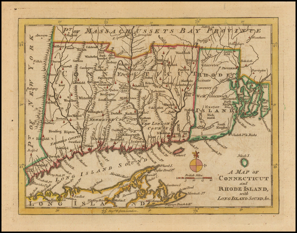 89-New England, Connecticut and Rhode Island Map By Gentleman's Magazine
