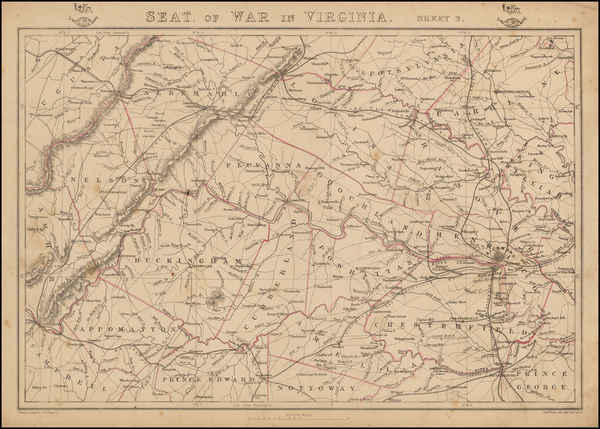 Southeast and Virginia Map By Edward Weller / Weekly Dispatch