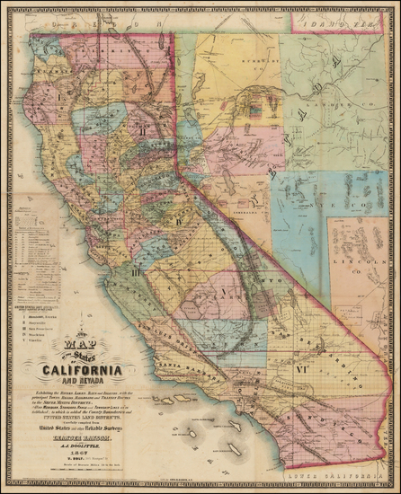 28-Southwest, Nevada and California Map By A.J. Doolittle  &  Leander Ransom