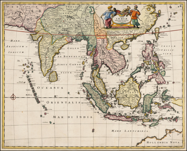 96-China, India, Southeast Asia, Philippines and Australia & Oceania Map By Frederick De Wit