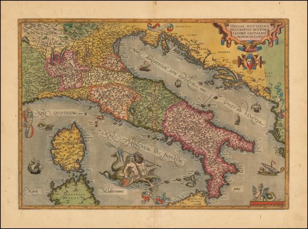 67-Italy and Balearic Islands Map By Abraham Ortelius
