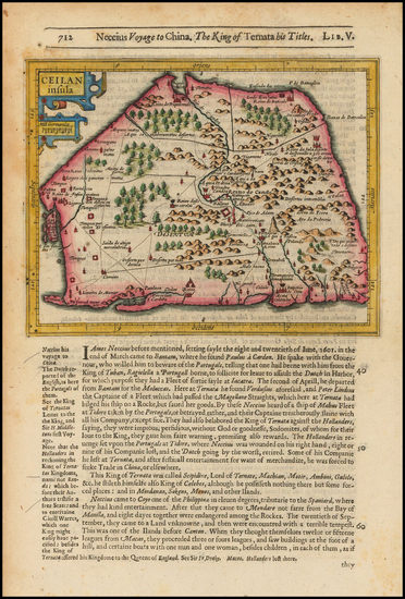 India & Sri Lanka and Other Islands Map By Jodocus Hondius / Samuel Purchas