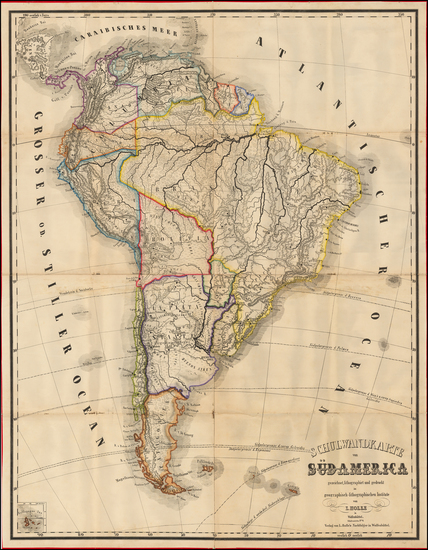 61-South America Map By Lienhart Holle