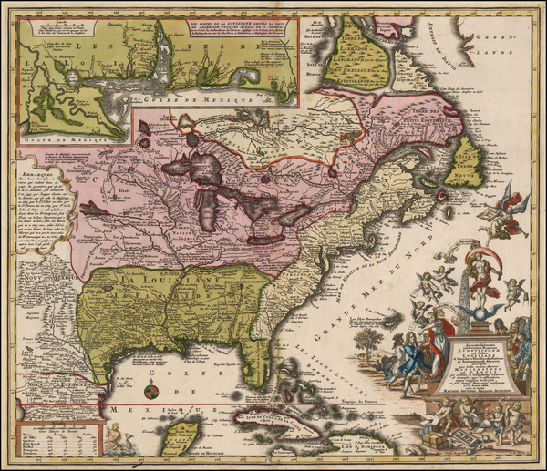 6-South, Southeast, Texas, Midwest and North America Map By Matthaus Seutter