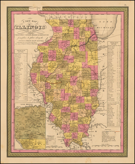 81-Midwest and Illinois Map By Samuel Augustus Mitchell