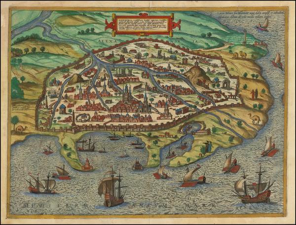 82-Egypt Map By Georg Braun  &  Frans Hogenberg