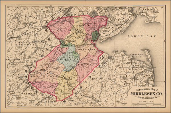 80-New Jersey Map By Comstock & Cline Beers