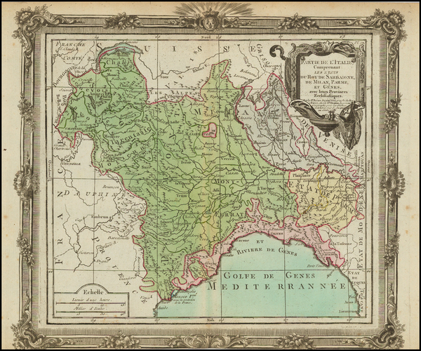 92-Europe, Italy and Northern Italy Map By Louis Brion de la Tour