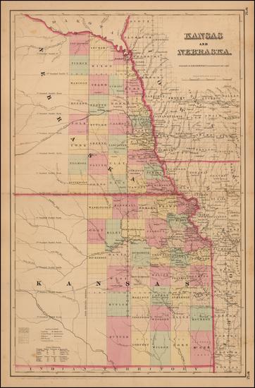 65-Midwest, Plains, Kansas and Nebraska Map By Joseph Hutchins Colton
