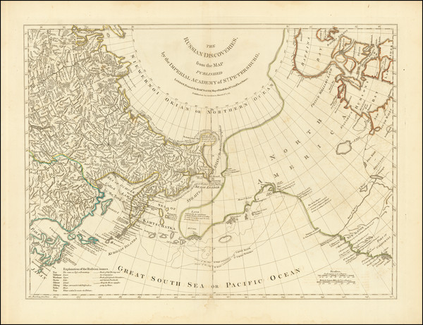 Polar Maps, Alaska, Canada, Pacific and Russia in Asia Map By Robert Sayer