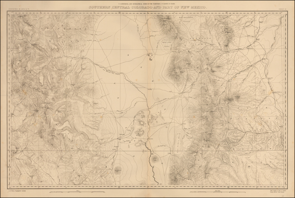 52-Southwest, New Mexico, Rocky Mountains and Colorado Map By F.V. Hayden