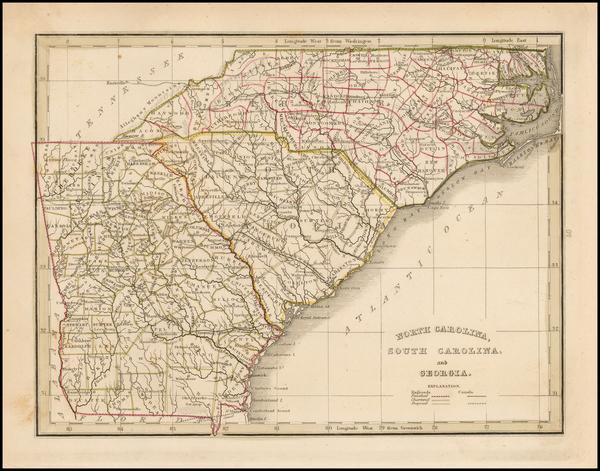 30-Southeast, Georgia and North Carolina Map By Thomas Gamaliel Bradford