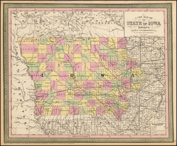 44-Midwest and Iowa Map By Thomas, Cowperthwait & Co.