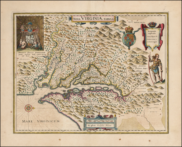 40-Mid-Atlantic, Delaware, Southeast and Virginia Map By Willem Janszoon Blaeu