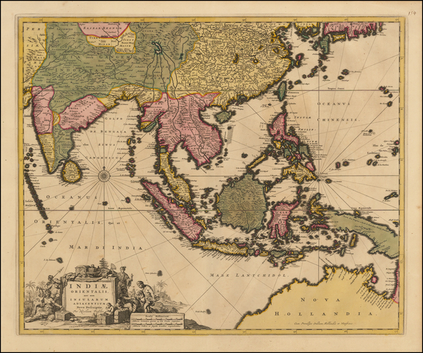 37-China, India, Southeast Asia and Australia Map By Nicolaes Visscher I
