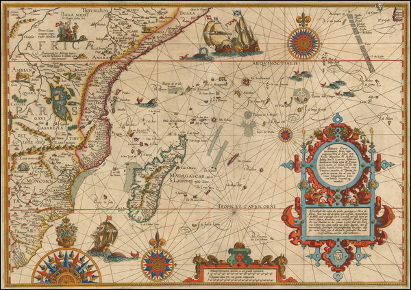 62-Indian Ocean, South Africa and East Africa Map By Jan Huygen Van Linschoten