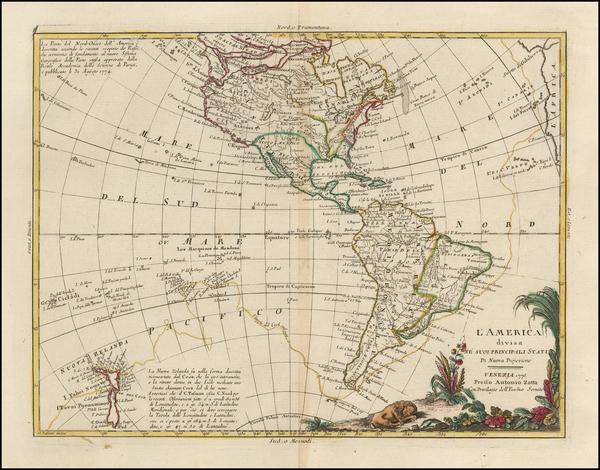 33-South America, Oceania, New Zealand and America Map By Antonio Zatta