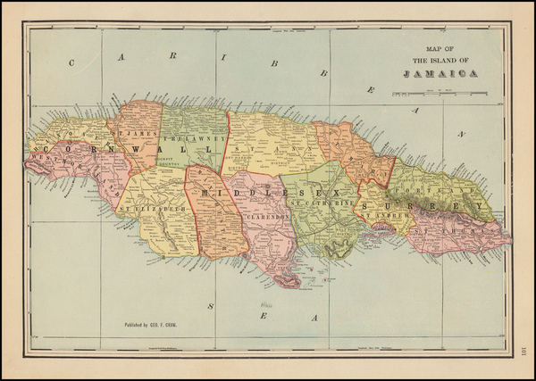 15-Caribbean and Jamaica Map By George F. Cram