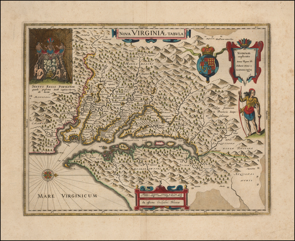 93-Maryland, Delaware, Southeast and Virginia Map By Willem Janszoon Blaeu