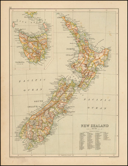 82-New Zealand Map By John Bartholomew