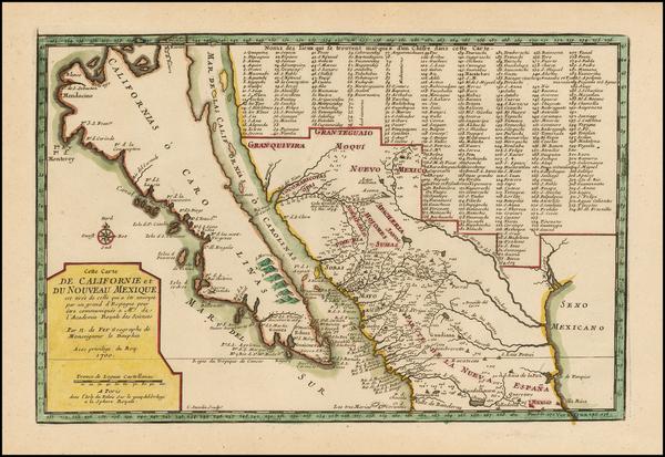 75-Baja California and California Map By Nicolas de Fer