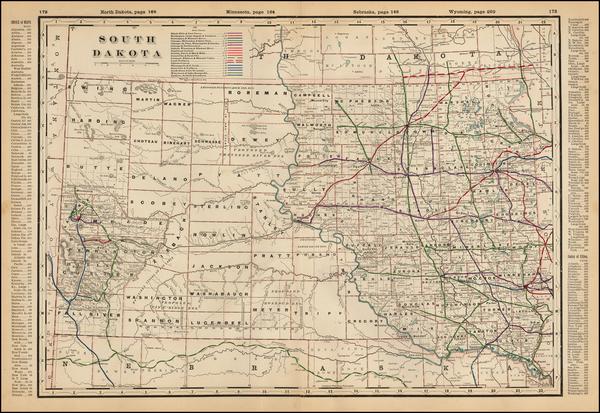 15-Plains and South Dakota Map By George F. Cram