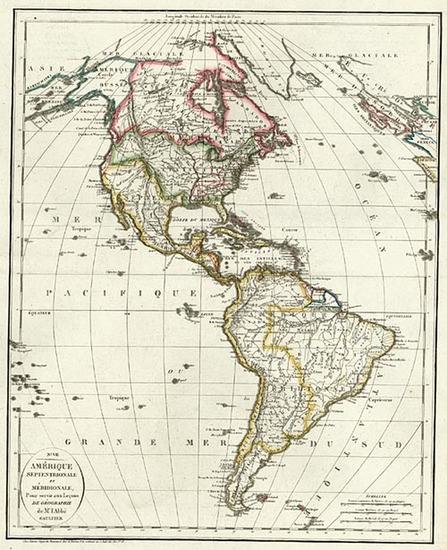 60-South America and America Map By Antoine Augustin Renouard