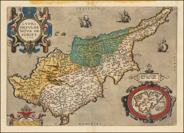 57-Cyprus Map By Abraham Ortelius